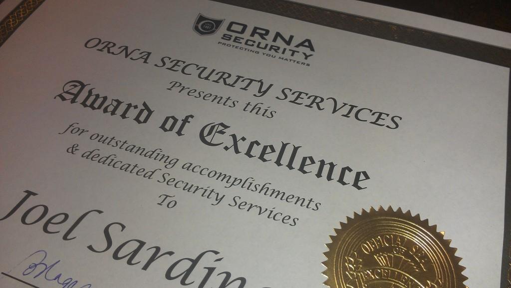 ORNA Security Award